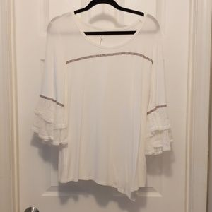 NY Collection XL Top White and Gray